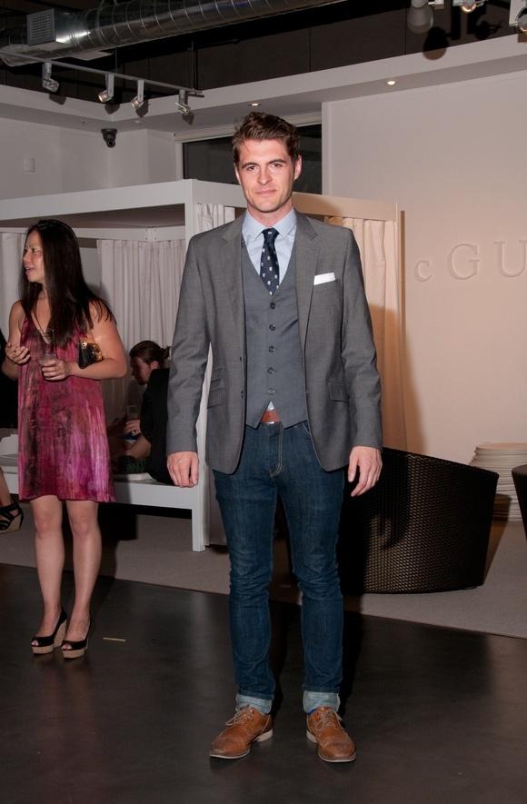 Grey Suit Jacket and Vest Dark Jeans Blue Dress Shirt ...
