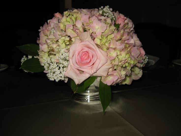 Pink Roses and Hydrangea Centerpieces | Flowers | Pinterest ...