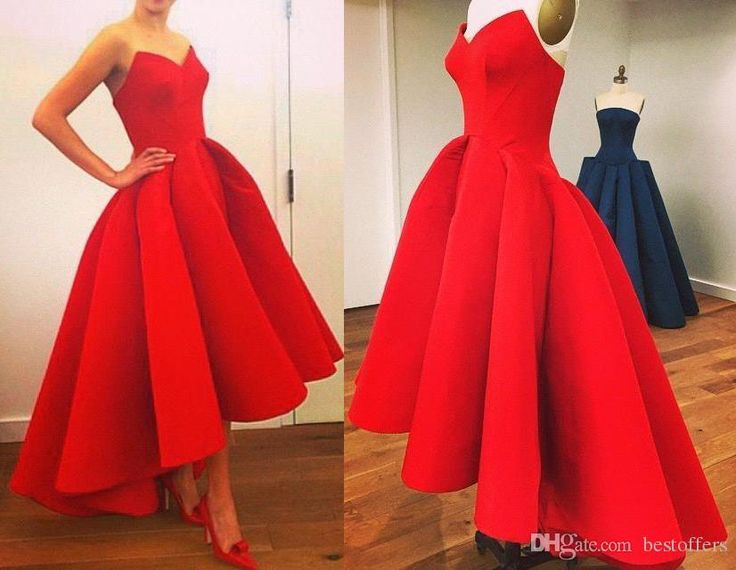 2015 Custom Made Vintage Hi-Lo Prom Dresses with Sweetheart Neck Tea Length Puffy Skirt Unique Red Evening Gowns BO7561 from Bestoffers,$98.96 | DHgate.com