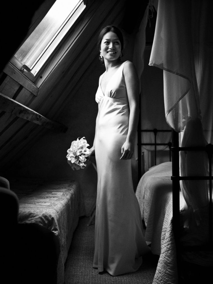 Elegant and stunning.  The bride is ready to walk down the aisle to meet her best friend.  This was made at a wedding in the French countryside