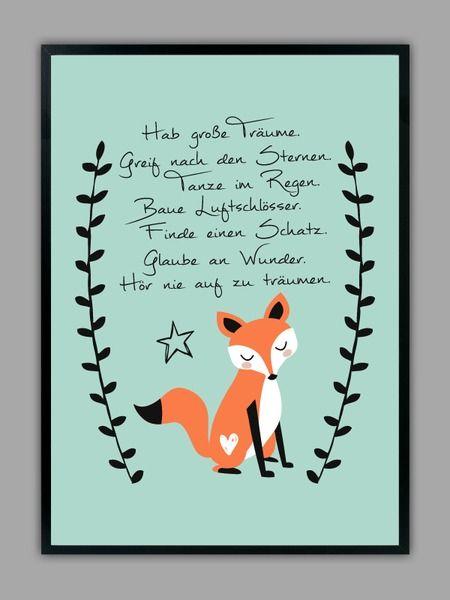 """""""HAB GROßE TRÄUME"""" Kunstdruck in mint, Geschenk von Smart-Art Kunstdrucke auf DaWanda.com"""