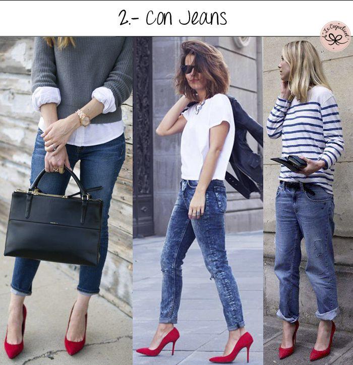 Zapatos rojos con jeans