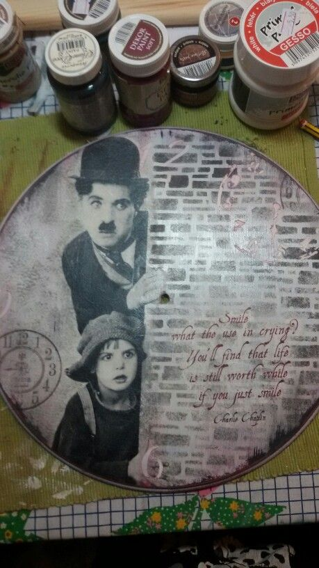 Charlie chaplin rice paper decoupage clock