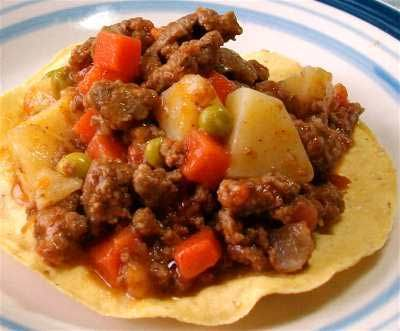 Picadillo mexicano (picadillo de carne con verduras) or sub ground bf w/turkey.