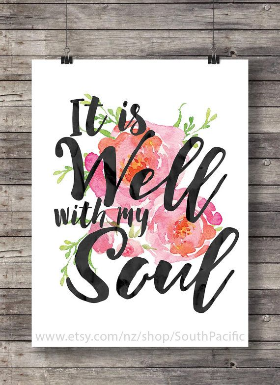 It is well with my soul watercolor typography Hymn by SouthPacific
