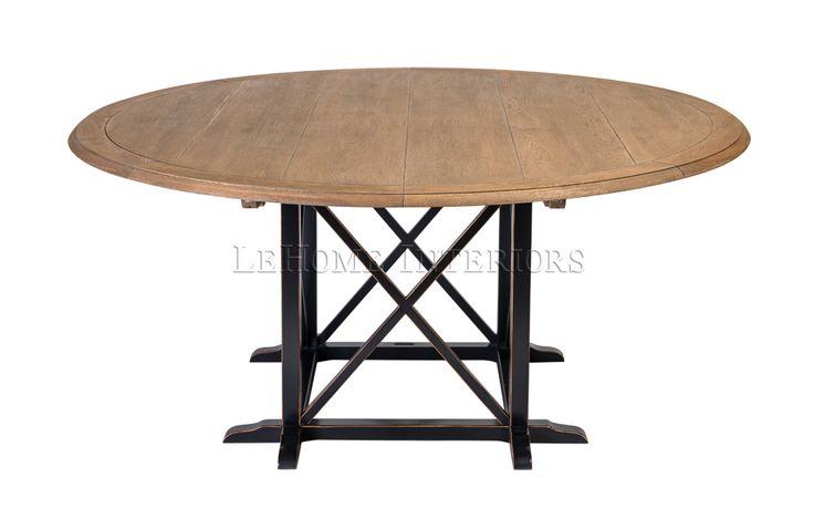Стол обеденный  Country Cross Dining Table. Обеденный стол с круглым топом выполненным из отдельных досок, соединенных между собой. Опора стола в виде пересекающихся направляющих для максимальной устойчивости.