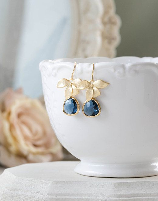Navy Blue Earrings, Sapphire Blue Earrings with Gold Orchid Flower, Navy Wedding Jewelry, Bridesmaid Earrings, September Birthstone Jewelry