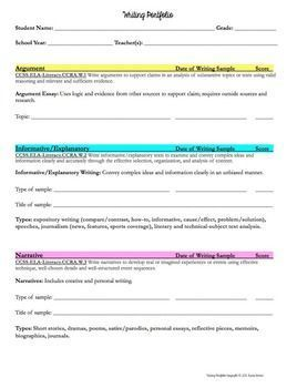 Writing portfolio self-analysis and tracking for students (middle and high school)