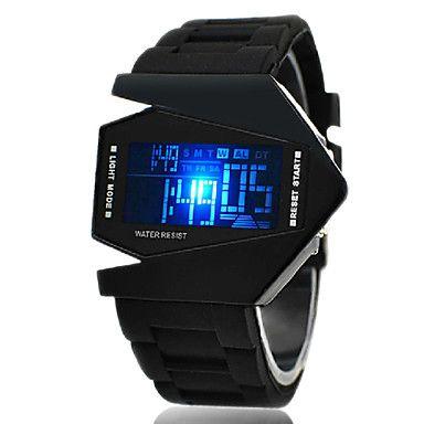 Herren Sportuhr / Armbanduhr digital LED / LCD / Kalender / Chronograph / Alarm Silikon BandSchwarz / Weiß / Blau / Rot / Braun / Grün / 93517 2016 – €4.89