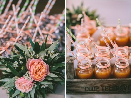 Wedding favor drinks at a Vintage Mediterranean Wedding