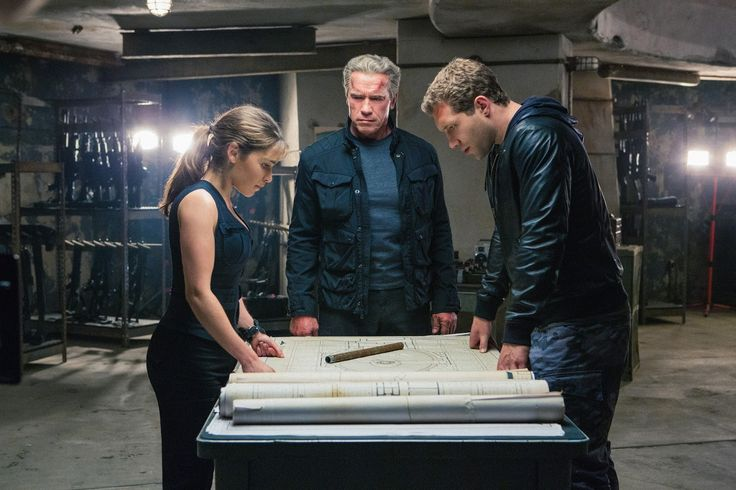 Terminator Genisys Movie Image Arnold Schwarzenegger, Jai Courtney and Emilia Clarke