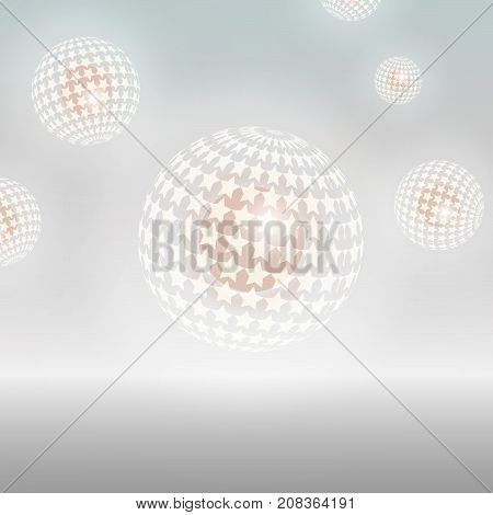 A background with hollow, glowing, star patterned spheres with a core. PNG file