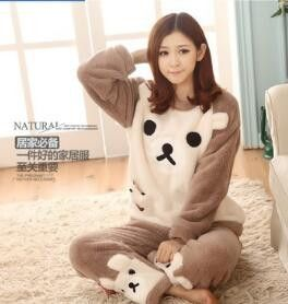 2016 Autumn And Winter Ladies Long Sleeves Thick Warm Coral Velvet Suit Home Furnishing Cute Bear Biscuits Softs Pajamas Sets