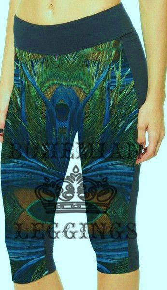 Peacock feather Side pocket Yoga Capri Pants