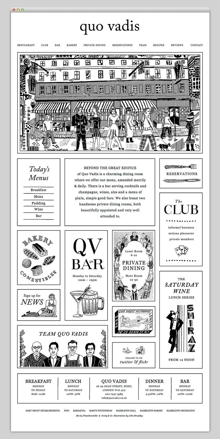 Quo Vadis Black and White Newsprint Inspired Web Layout with Wood Etching Print Motif Website Illustrations