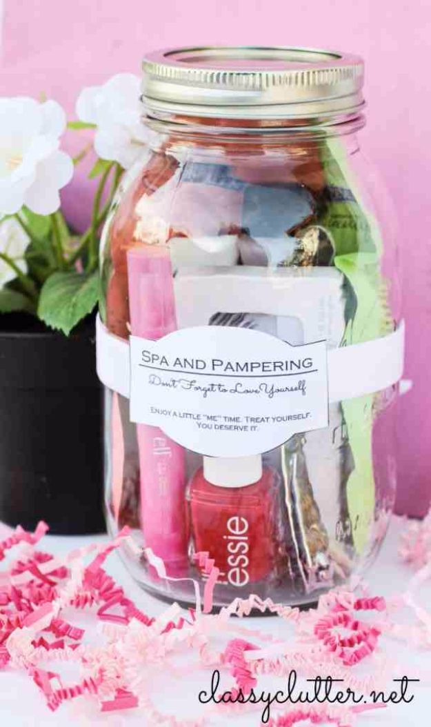 Best DIY Gifts in Mason Jars - Spa And Pampering In A Jar - Cute Mason Jar Crafts and Recipe Ideas that Make Great DIY Christmas Presents for Friends and Family - Gifts for Her, Him, Mom and Dad - Gifts in A Jar That Are Easy, Quick and Cheap http://diyjoy.com/best-diy-mason-jar-gifts
