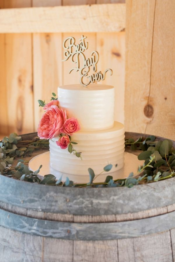 Simple buttercream wedding cake with a Best Day Ever topper | Mikkel Paige Photography on @eld_lauren via @aislesociety