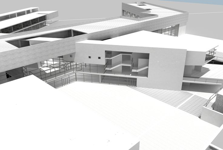 The most important point of project where there is the intersection between the main elements and there is the hall door to go in the schools, library, conference room, display room, gym, offices, dining hall and car park.
