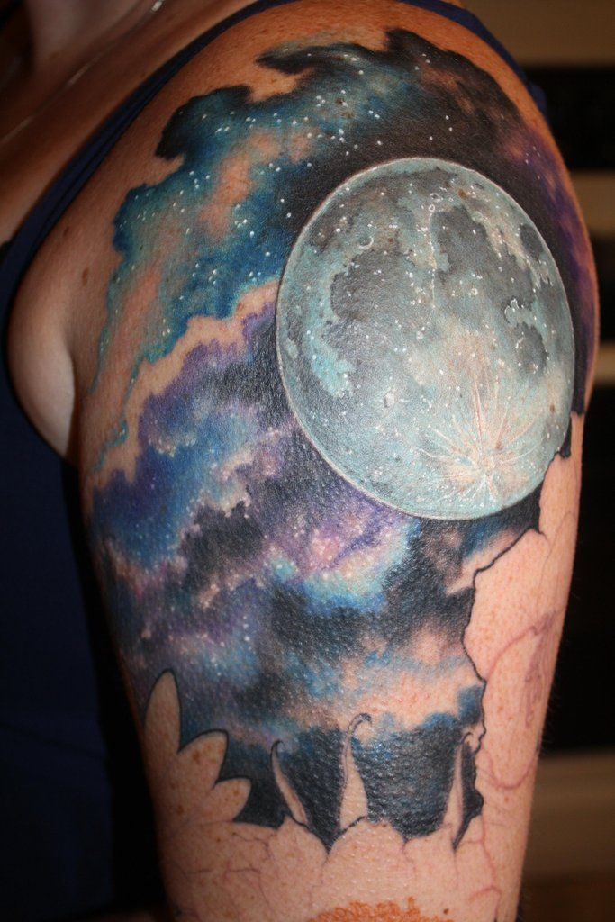 full moon on shoulder with galaxy in background!!!