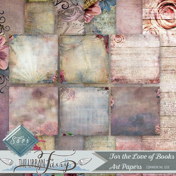 CU Commercial Use Background Papers set of 6 for Digital Scrapbooking or Craft For the Love of Books Art Papers, Designer Stock Papers
