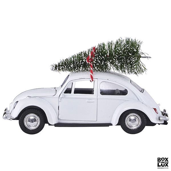 House Doctor julepynt - XMAS CAR i hvid med juletræ