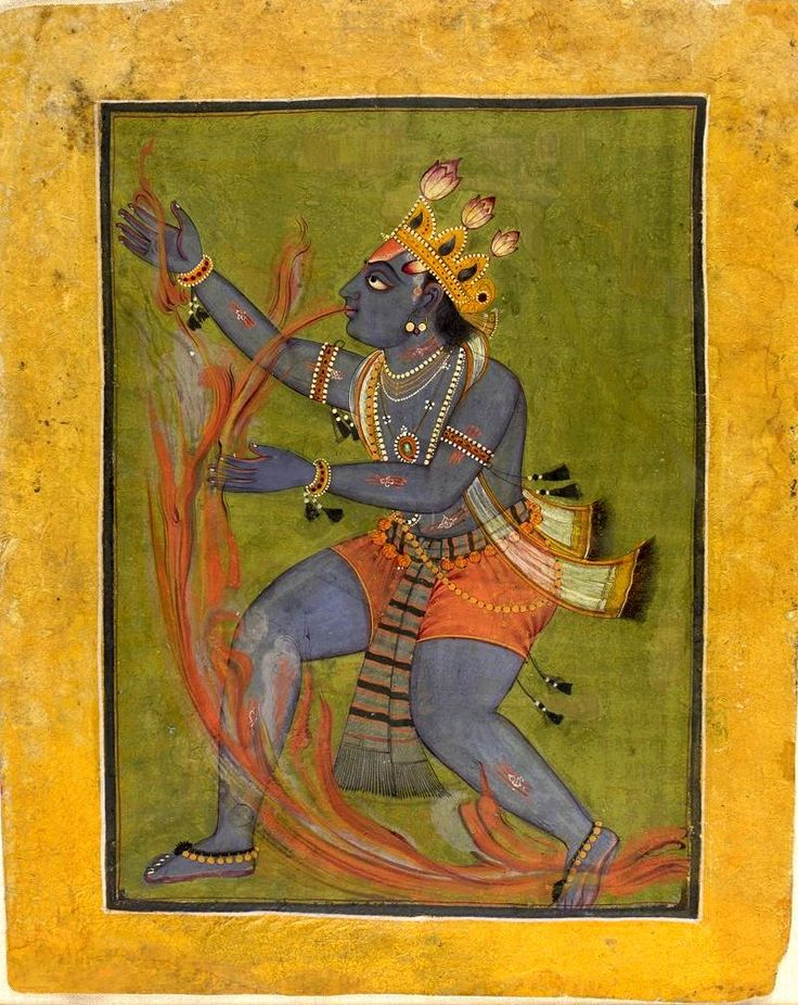 Krishna Swallows the Forest Fire: Episode from the Bhagavata Purana (Ancient Stories of the Lord).. Date c. 1730. Creation Place: South Asia, India, Kashmir, Basohli