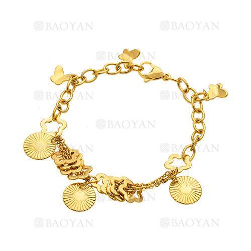 pulsera de moda con dijes de dorado en acero inoxidable -SSBTG285064