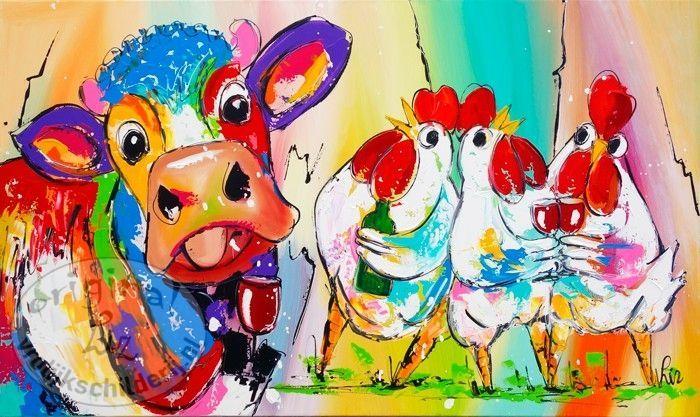 Vrolijk Schilderij Gezellige boerderij dieren