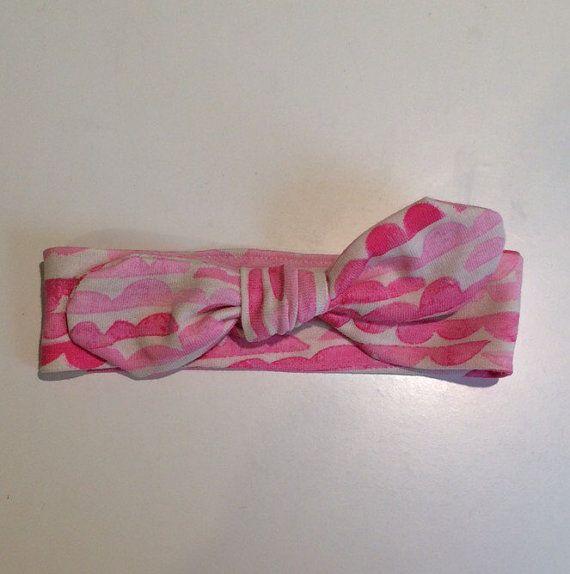 """Pretty pink """"cloud"""" print tie knot topknot headband"""