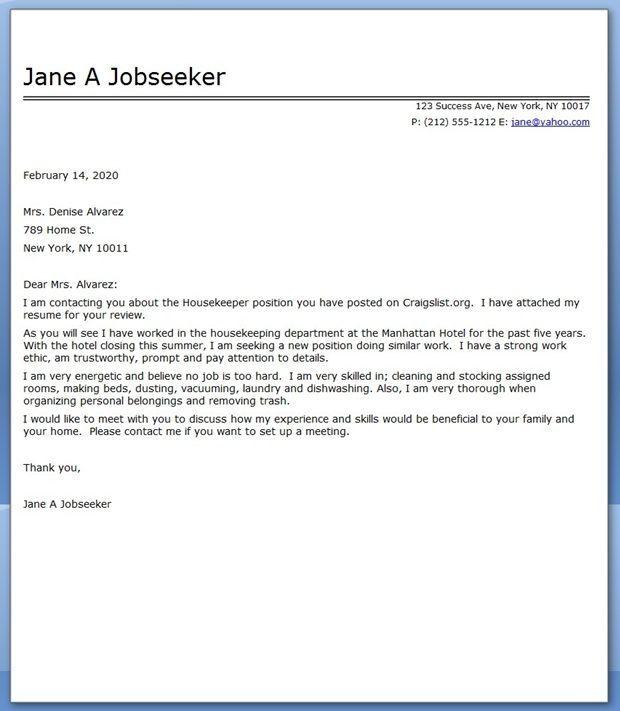 Housekeeper Cover Letter Sample Career Life Pinterest Cover Letter For Resume Cover Letter Sample Job Cover Letter