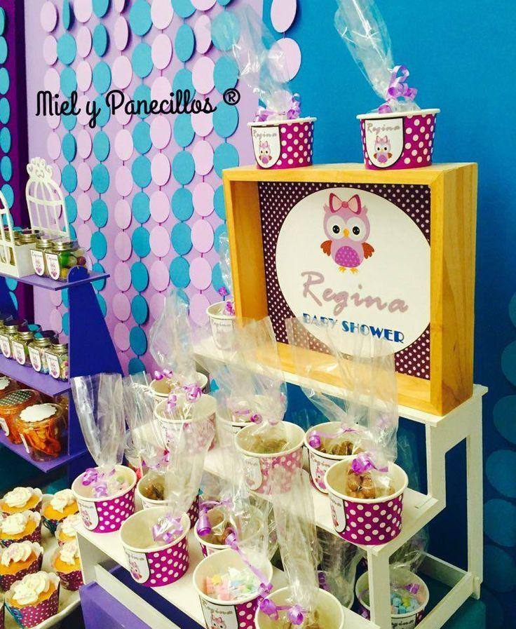 Mesa De Dulces, Postres Y Botanas Búhos. Morado Y Azul. Baby Shower Miel