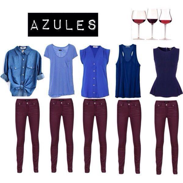 pantalon vino con blusas azules
