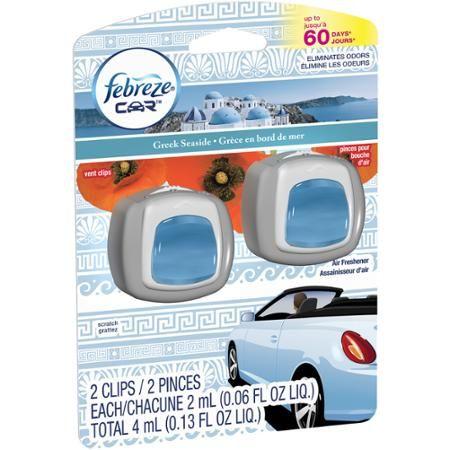 Febreze Car Vent Clips Greek Seaside Air Freshener, 0.06 fl oz, 2 count