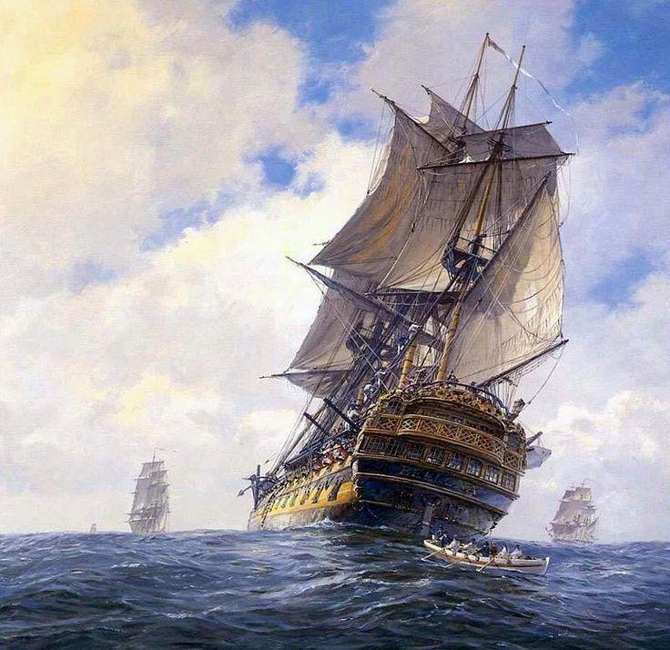 HMS Bellona (la diosa romana de la guerra) , un navío de línea de 74 cañones de la Royal Navy, botado en 1760 sirvió durante medio siglo. Pintura de Geoff Hunt  Más en www.elgrancapitan.org/foro