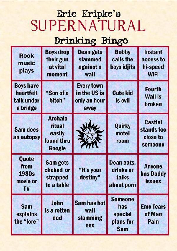 Supernatural Drinking Bingo Game