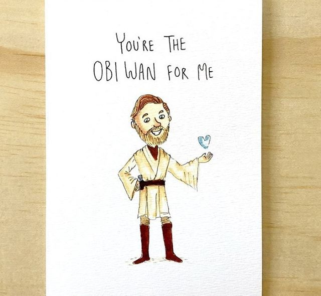 NEW CARD ONLINE . You're The Obi Wan For Me - There Kenobi be one card for your partner or special someone and it's this one. Get the Star Wars lover this Obi-Wan card. It'll be sure to force a smile. . Tag the obi wan for you. . Order now and have it before Valentine's Day for only $5.95 free shipping. www.welldrawn.com.au .
