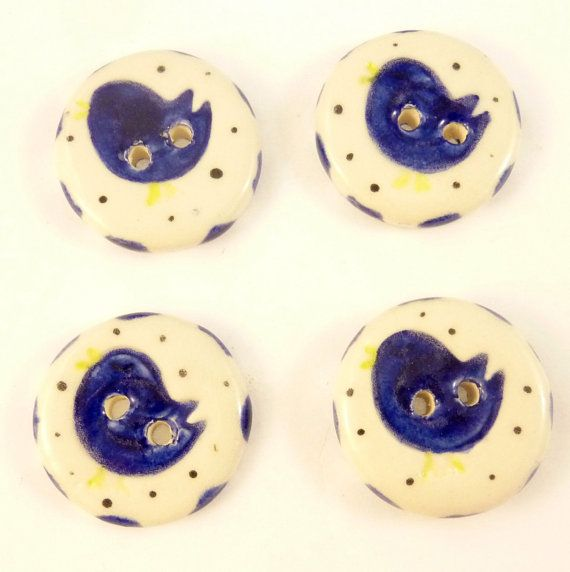 FOUR Blue Bird Ceramic Button. Handmade buttons by buttonsbyrobin2