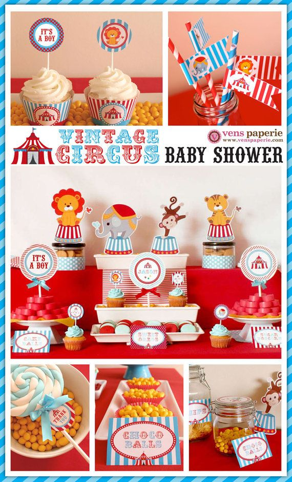 Vintage Blue Carnival Circus Baby Shower Package Personalized FULL Collection Set - PRINTABLE DIY - BS801CA1x via Etsy