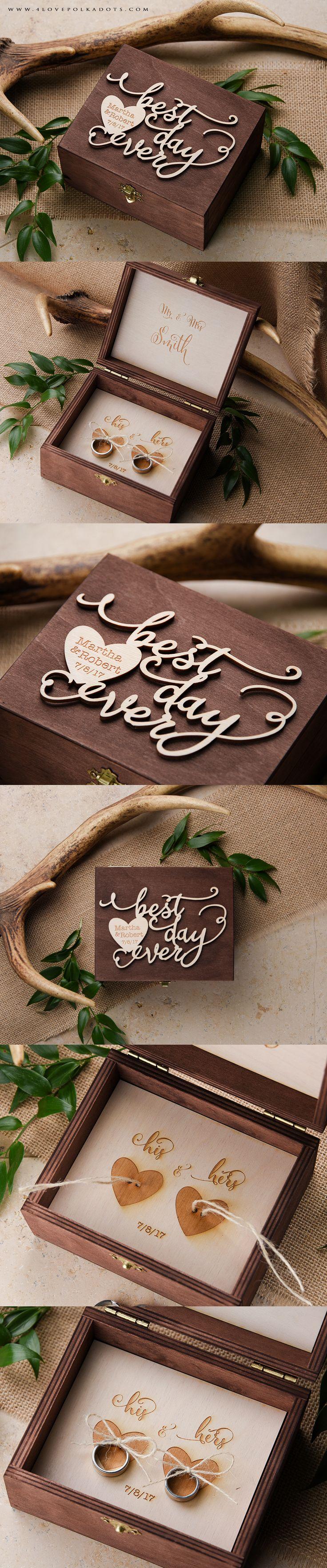 Best Day Ever ! <3 Wedding Wooden Ring Box #realwood #ringbox #boho #bohemian…
