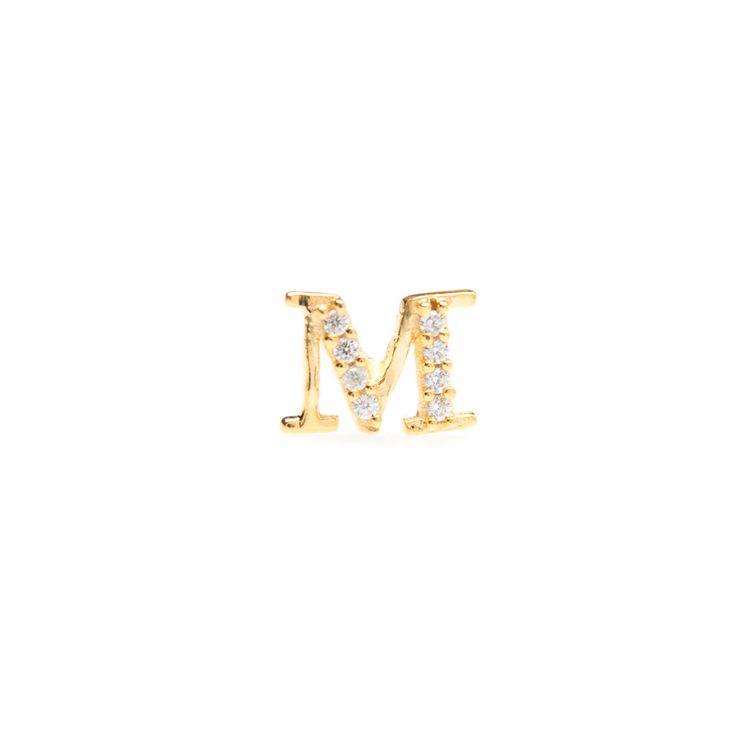 Gold single initial 'M' stud