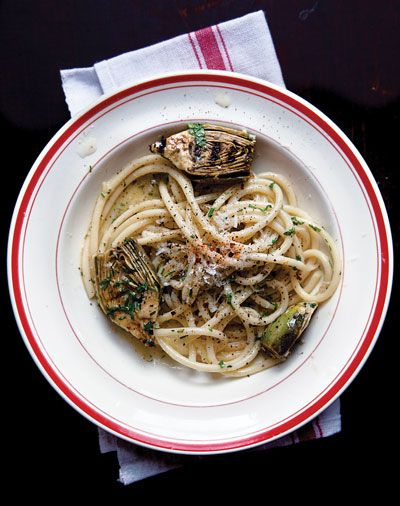 Pasta with Grilled Artichokes
