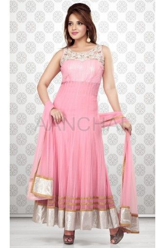 "Rose Pink Net Readymade Kameez with Churidar And Dupatta (Ready made Size 38"" to 44"""")"
