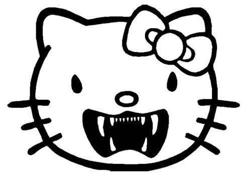 New custom screen printed tshirt hello kitty vampire fangs for Vampire teeth pumpkin stencils