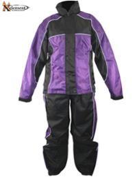 Xelement Women's 2 Piece Black and Purple Motorcycle Rain Suit