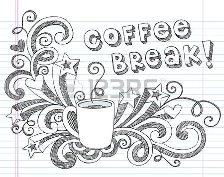 Coffee Mug Back to School Sketchy Notebook Doodles with Lettering Shooting Stars and Coffee Tea Cup  Stock Vector