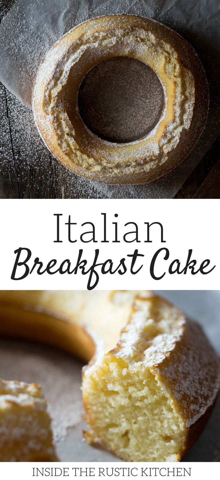 An Italian breakfast cake recipe - Italian ciambella recipe made with flour, eggs, sugar, lemon zest and yogurt. Made in under 30 minutes. An easy authentic Italian breakfast recipe. For more authentic Italian recipes visit Insidetherustickitchen.com via @InsideTRK
