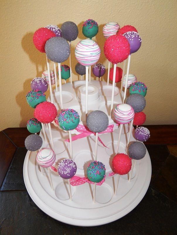 Pink, teal, purple, silver cake pops