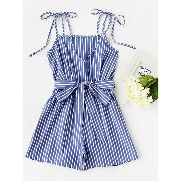 SheIn(sheinside) Vertical Striped Self Tie Shoulder Belt Romper (180 MXN) ❤ liked on Polyvore featuring jumpsuits, rompers, blue, blue jumpsuit, sleeveless jumpsuits, blue romper, blue jump suit and sleeveless rompers