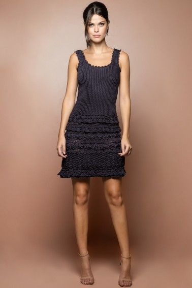 Vestido Crochet Couture Asfalto - Vanessa Montoro - vanessamontoro