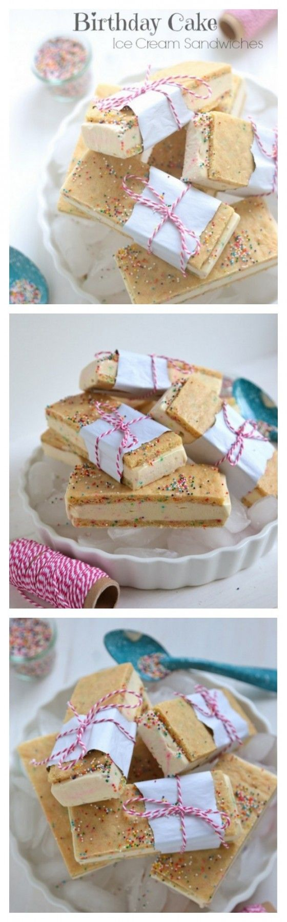 Homemade Birthday Cake Ice Cream Sandwiches with Sprinkles! - It's like a frozen birthday cake!